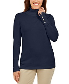Stud-Sleeve Pullover Turtleneck Sweater, Created for Macy's