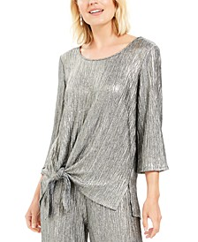 Metallic Crinkle Tie-Hem Top, Created For Macy's