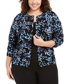 Plus Size Forest Glow Printed Cardigan Sweater, Created for Macy's