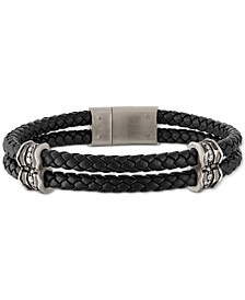 Diamond Braided Leather Bracelet (1/3 ct. t.w.) in Sterling Silver