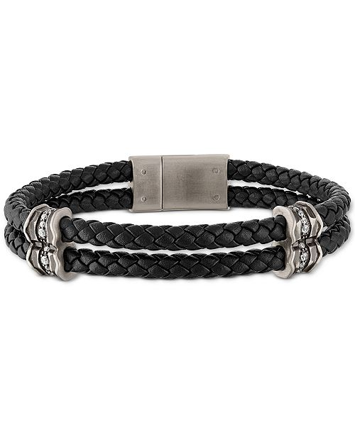 Esquire Men's Jewelry Diamond Braided Leather Bracelet (1/3 ct. t.w.) in Sterling Silver