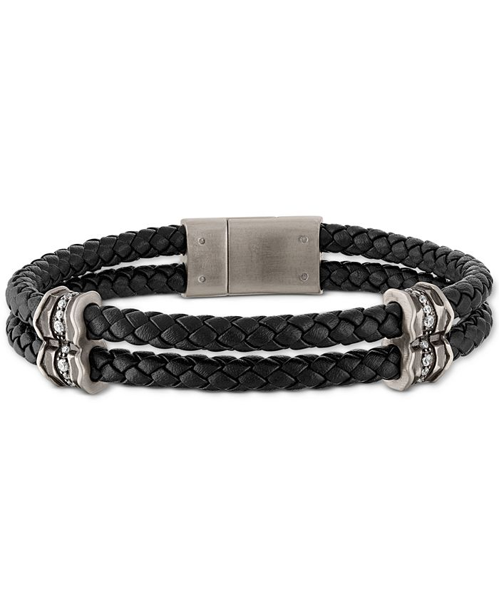 Esquire Men's Jewelry - Diamond Braided Leather Bracelet (1/3 ct. t.w.) in Sterling Silver