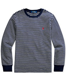 Big Boys Striped Waffle-Knit Cotton-Blend Tee, Created For Macy's