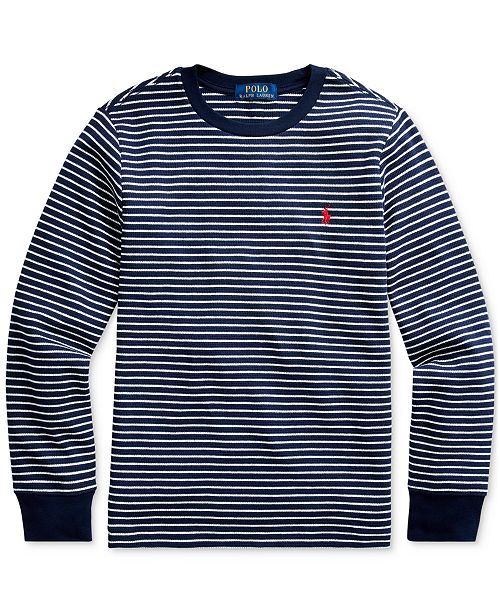 Polo Ralph Lauren Big Boys Striped Waffle-Knit Cotton-Blend Tee, Created For Macy's