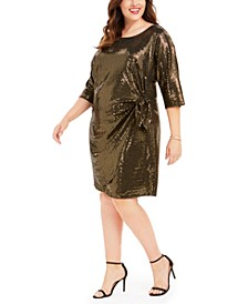 Plus Size Metallic Knotted Sarong Dress