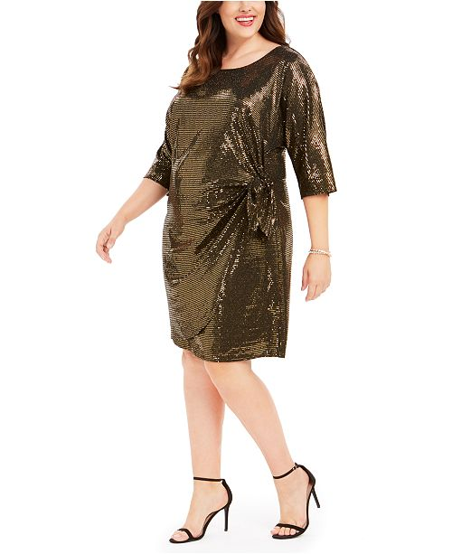 Robbie Bee Plus Size Metallic Knotted Sarong Dress