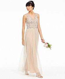 V-Neck Beaded Mesh Gown