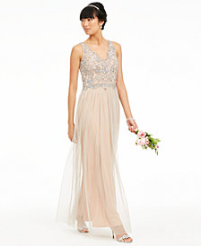 Adrianna Papell V-Neck Beaded Mesh Gown