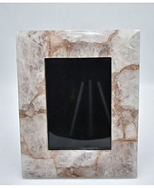 "- 10"" H x 8"" W Natural Rose Quartz Agate Picture Frame"