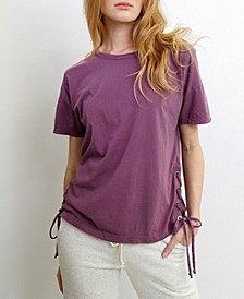Womens Cotton Short-Sleeve Side Lace Up Tee
