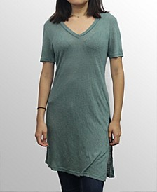 Womens Slub Jersey V-Neck Tunic T-Shirt