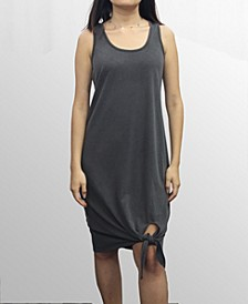 Womens Washed French Terry Tied Hem Dress