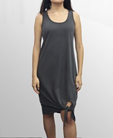 COIN 1804 Womens Washed French Terry Tied Hem Dress