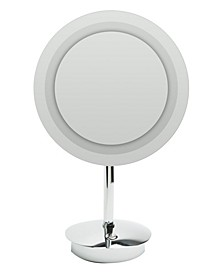 Chrome Tabletop Round 5x Magnifying Cosmetic Mirror with Light