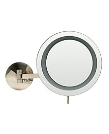 Nickel Wall Mount Round 5x Magnifying Cosmetic Mirror with Light
