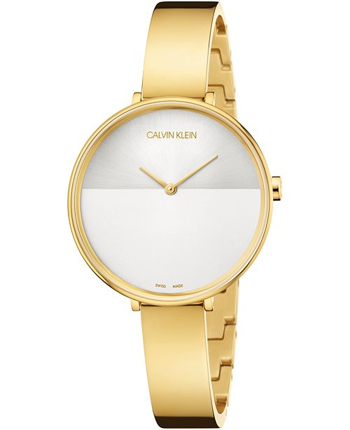 Calvin Klein Women's Rise Extension Gold-Tone PVD Stainless Steel Bangle Bracelet Watch 38mm