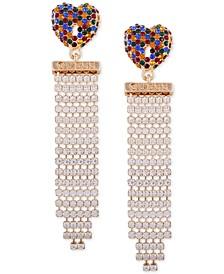 Gold-Tone Crystal Heart & Fringe Drop Earrings