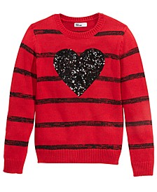 Big Girls Striped Heart Sweater, Created For Macy's