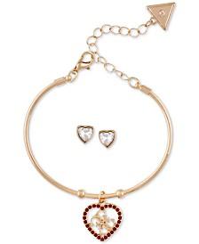 GUESS Crystal Quatro-G Heart Bangle Bracelet & Stud Earrings Set