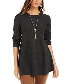 Petite Mixed-Stitch Tunic Sweater, Created For Macy's