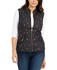 Petite Quilted Floral-Print Zipper Vest, Created For Macy's
