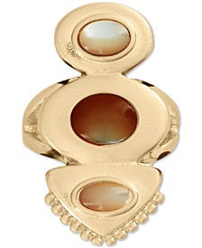 Gold-Tone Stone & Mother-of-Pearl Statement Ring