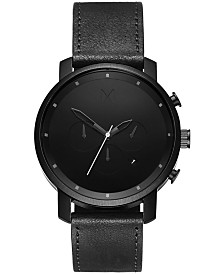 MVMT Men's Chrono Black Leather Strap Watch 45mm