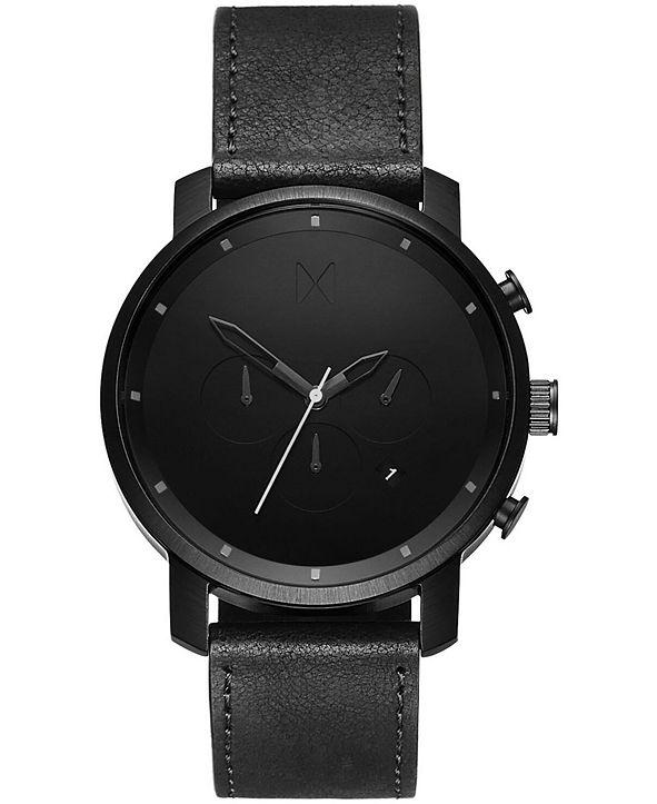 MVMT Men's Chrono Black Leather Strap Watch 45mm