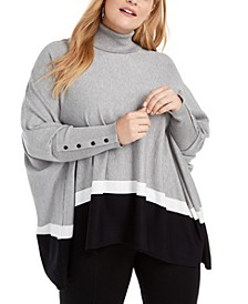 Plus Size Colorblock Poncho, Created For Macy's