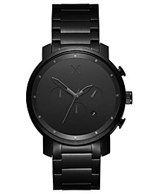 Men's Chrono Black Stainless Steel Bracelet Strap Watch 45mm