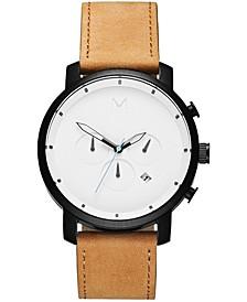 Men's Chrono Tan Leather Strap Watch 45mm