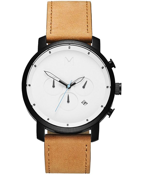 MVMT Men's Chrono Tan Leather Strap Watch 45mm