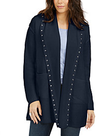 Style & Co Studded Cardigan Sweater, Created For Macy's
