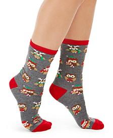 Women's Owls Crew Socks, Created For Macy's