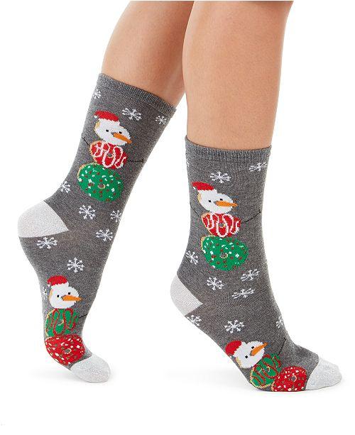 Charter Club Women's Donut Snowman Crew Socks, Created For Macy's