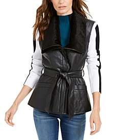 INC Faux-Leather Moto Vest, Created For Macy's