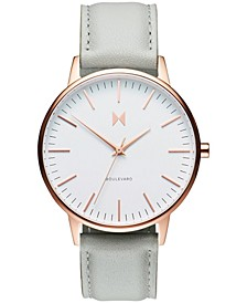 Women's Boulevard Beverly Gray Leather Strap Watch 38mm