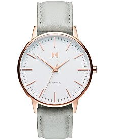MVMT Women's Boulevard Beverly Gray Leather Strap Watch 38mm
