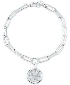 Mickey Mouse Crystal Coin Link Bracelet in Silver-Plated Brass