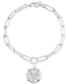 Disney Mickey Mouse Crystal Coin Link Bracelet in Silver-Plated Brass