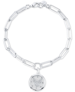 Mickey Mouse Crystal Coin Link Bracelet in Fine Silver Plate Brass