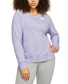 Plus Size Sportswear Vintage-Inspired Crewneck Top