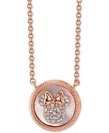 "Minnie Mouse Mother-of-Pearl Pendant Necklace in Fine Silver Plated Rose Gold, 16"" + 2"" extender"