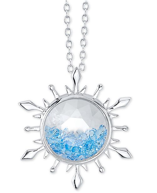 """Disney Frozen 2 Blue Crystal Snowflake Pendant Necklace in Silver-Plate, 16"""" + 2"""" extender"""