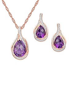 2-Pc. Set Amethyst (3-1/2 ct. t.w.) & Diamond (1/20 ct. t.w.) Pendant Necklace & Matching Stud Earrings in 14k Rose Gold-Plated Sterling Silver