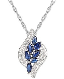 "Sapphire (1-1/6 ct. t.w.) & Diamond (1/10) 18"" Pendant Necklace in Sterling Silver"