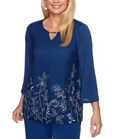 Alfred Dunner Sapphire Skies Floral Mesh Knit Top