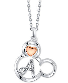"Disney Mickey Mouse Initial Pendant Necklace in Two-Tone Silver-Plate, 16""+ 2"" extender"