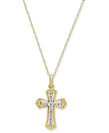 "Diamond Cross 18"" Pendant Necklace (1/10 ct. t.w.) in 14k Gold & 14k White Gold"