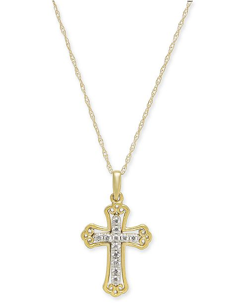 "Macy's Diamond Cross 18"" Pendant Necklace (1/10 ct. t.w.) in 14k Gold & 14k White Gold"